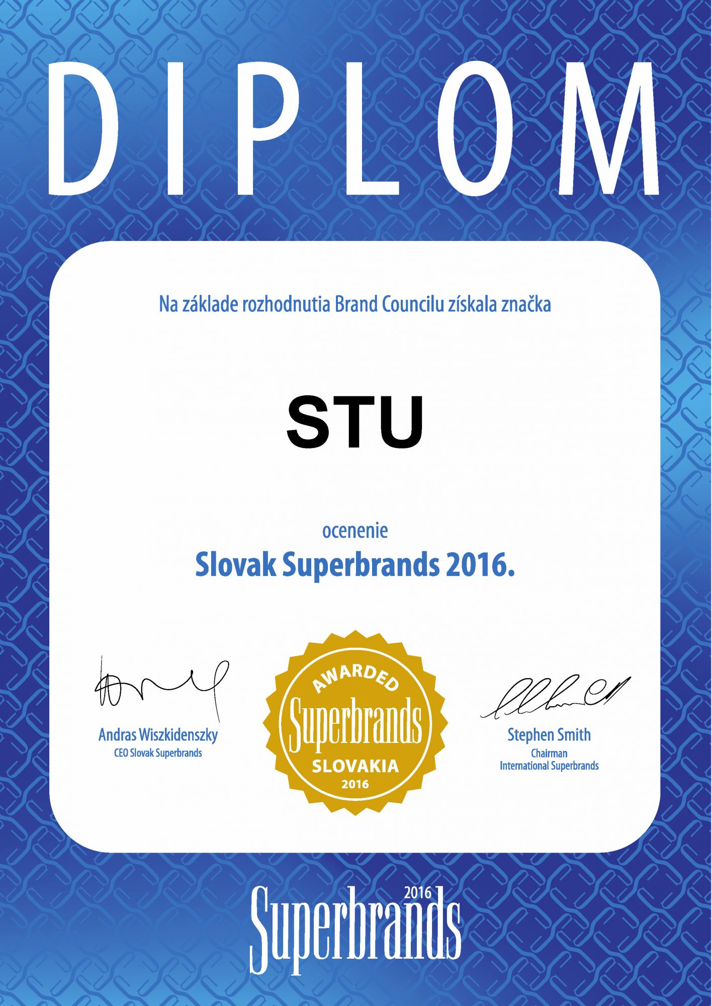 Superbrands award certifikat