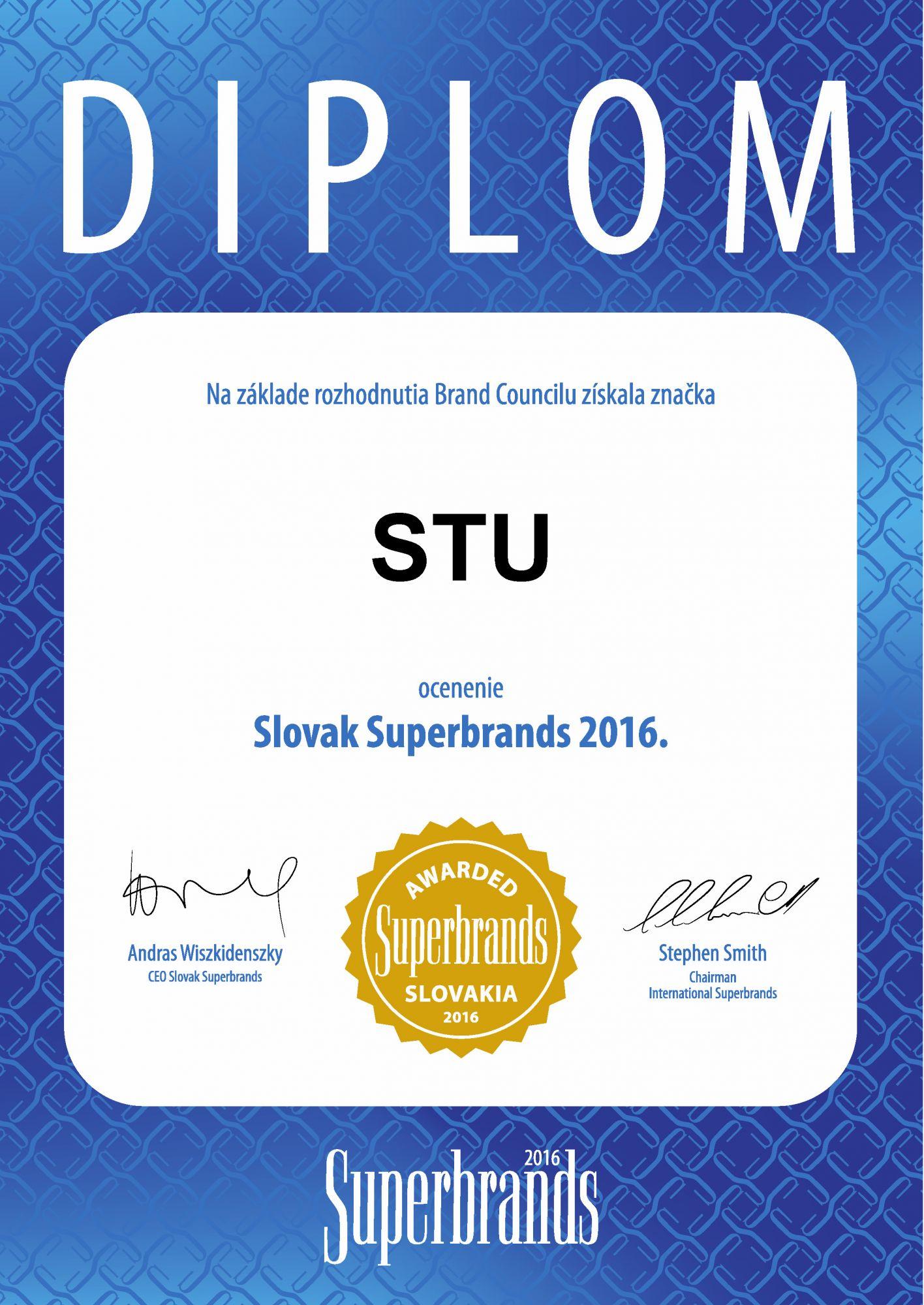 STU získala Superbrands Award 2016